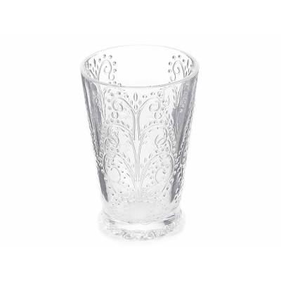 Set 4 bicchieri in vetro trasparente lavorato a rilievo