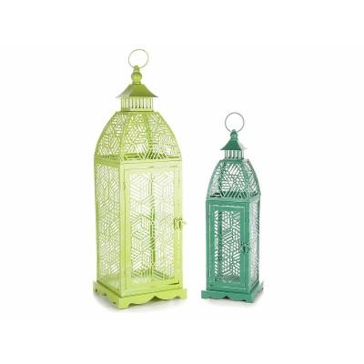Set di 2 lanterne in metallo colorato con decori traforati
