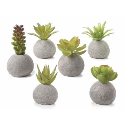 Set 6 piante grasse artificiali in vasetti tondi effetto pietra