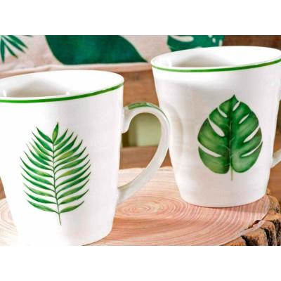 Set 6 tazze in porcellana con decoro a foglia