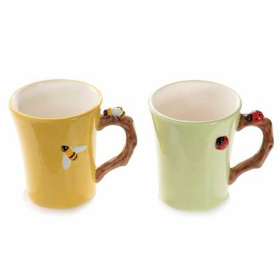 Set 4 tazze mug in ceramica colorata con decori in rilievo
