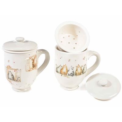 Set 2 tazze tisaniera ceramica con filtro, coperchio, decori gatti