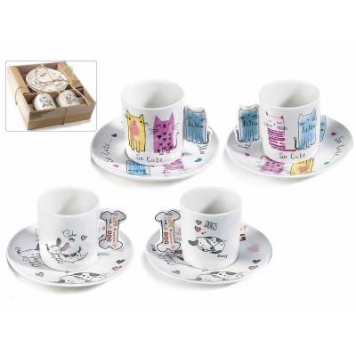 Set 2 scatole regalo con 2 tazzine caffè linea cani e gatti