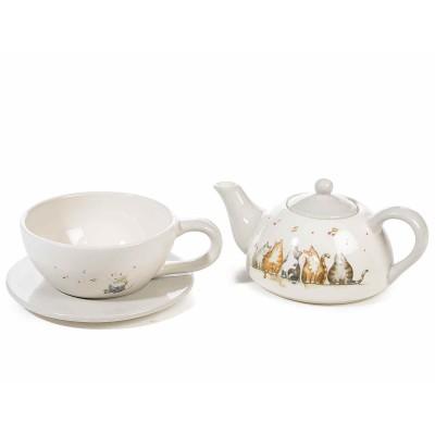 Set teiera e tazza con piattino in ceramica decorata da gatti e note musicali in rilievo
