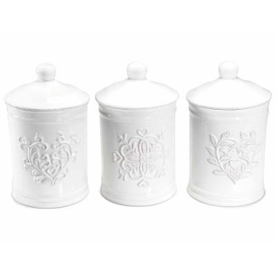Set 3 contenitori in ceramica bianca con chiusura ermetica