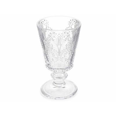 Set 4 bicchieri in vetro trasparente lavorato con decori in rilievo