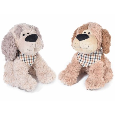 Set 2 cagnolini seduti di peluche con foulard
