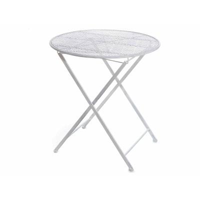 Tavolo pieghevole da giardino in metallo grigio traforato