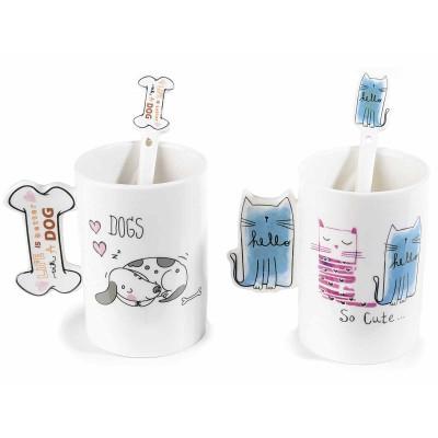Set 2 scat. regalo con tazze tisaniera linea cani e gatti con filtro