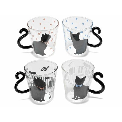 Set 4 tazze in vetro con decoro e manico a coda di gatto