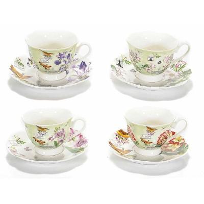 Set 4 tazzine da caffè con piattino in porcellana decorata