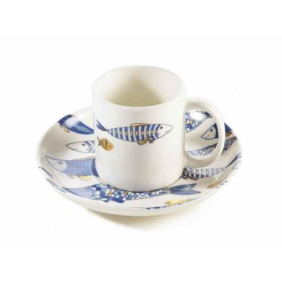Set 6 tazzine caffè con piattino porcellana decoro pesci blu e oro