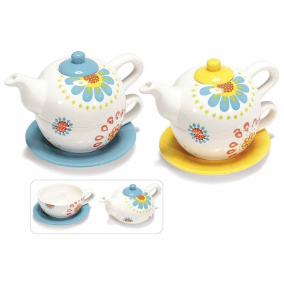 "Set 2 teiere ,tazze e piattini in ceramica con decori ""Flowers"""