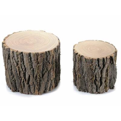 Set 2 tronchetti decorativi in legno