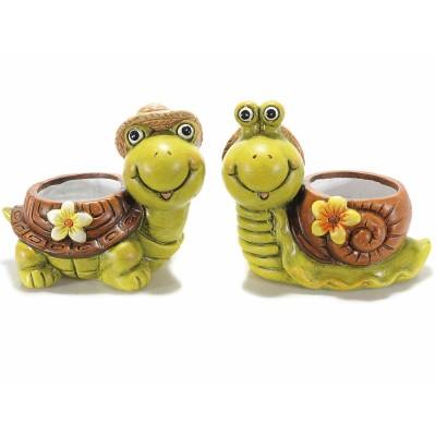 Set 2 vasi a tartaruga/lumaca in ceramica colorata