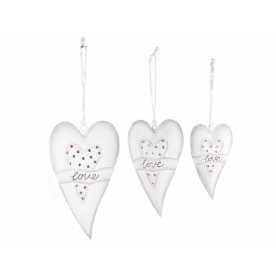 2 Set di 3   cuori Love in metallo da appendere con strass