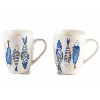 Set 6 tazze mug in porcellana con decoro pesci blu e oro