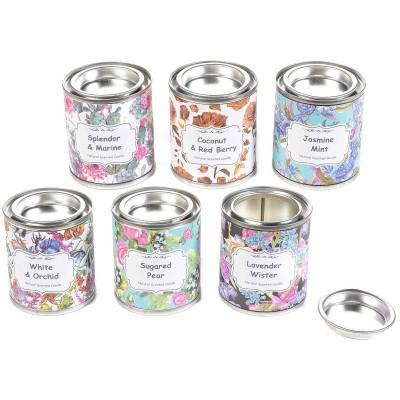 Set 6 candele profumate in barattolo di metallo decorato