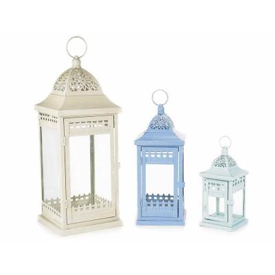 Set 3 lanterne in metallo colorato con decori traforati