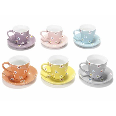 Set 6 tazzine da caffè con piattino ceramica decorata a fiorellini