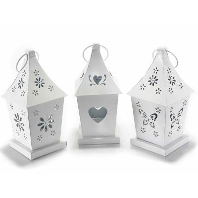 Set 3 lanterne porta candele tealight in metallo bianco intagliato