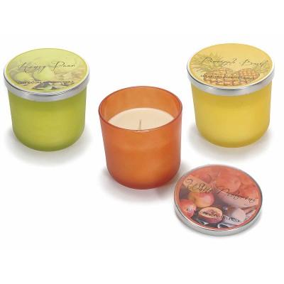 Set 3 candele profumate in vasetto di vetro colorato con coperchio