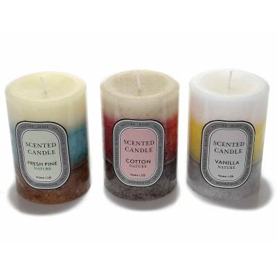 Set 3 candele cilindrica profumata sfumata a 3 colori