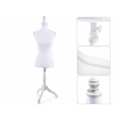 Busto donna sartoriale in tessuto bianco con base regolabile