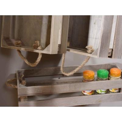 Set 3 cassette in legno naturale con manici in corda