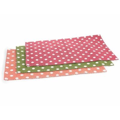 Set 3 tappeti in puro cotone colorato a pois