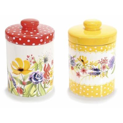 Set 2 contenitori in ceramica 'Papaveri' con coperchio ermetico