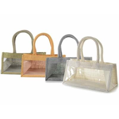 Set 4 borsette in juta rettangolare con finestra e manici in corda