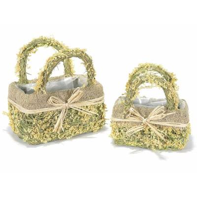 Set 2 cestini a borsetta in fibra naturale con fiocco
