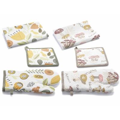 Set 2  asciugapiatti,presina,guanto cucina in cotone stampato