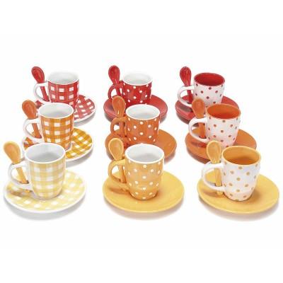 Set 9 tazzine da caffè con piattino e cucchiaino in ceramica
