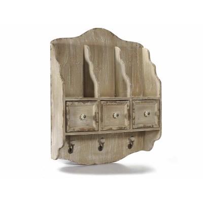 Mensola da parete in legno con 3 cassetti e 3 ganci