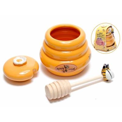 Set 3 barattoli portamiele in ceramica con cucchiaino di legno