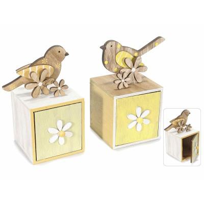 Set 2 contenitori in legno con uccellino