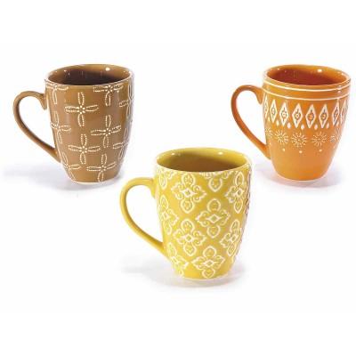 Set 6 tazze in ceramica colorata con decoro in rilievo