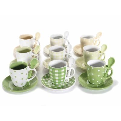 Set tazzine da caffè con piattino e cucchiaino in ceramica
