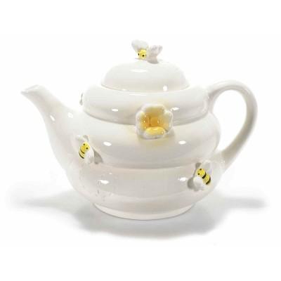 Set 2 teiere Honey in ceramica decorata con api e fiori