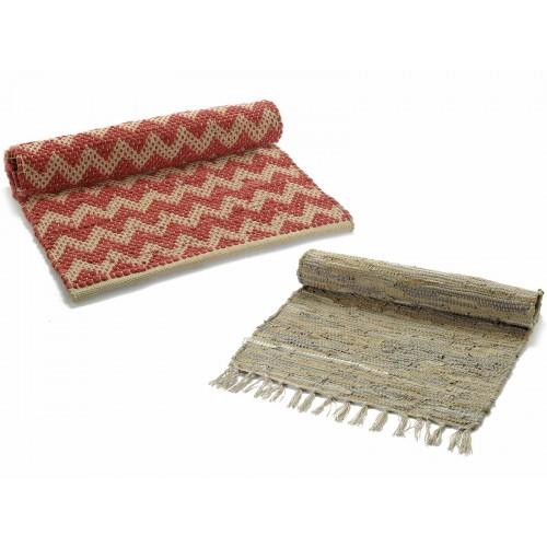 Set 2 tappeti in cotone, pelle e corda