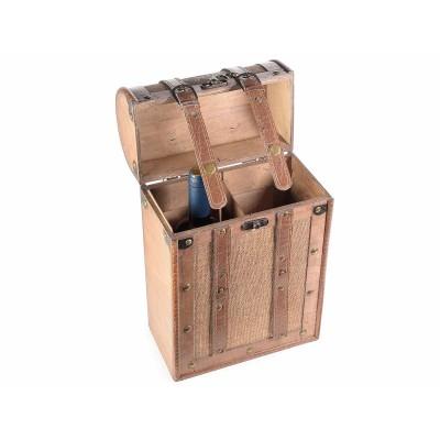 Bauletto in legno con 2 scomparti portabottiglie