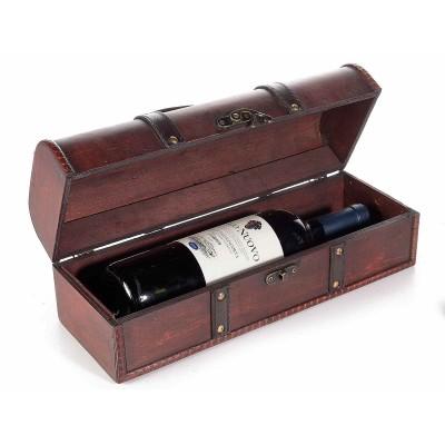 Bauletto porta bottiglia in legno con inserti in ecopelle