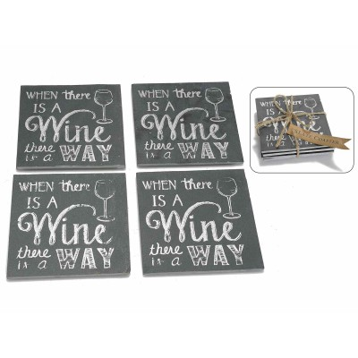Set 3 confezioni da 4 sottobicchieri in ardesia a lavagna Wine