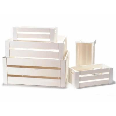 Set 5 cassette decorative in legno bianco