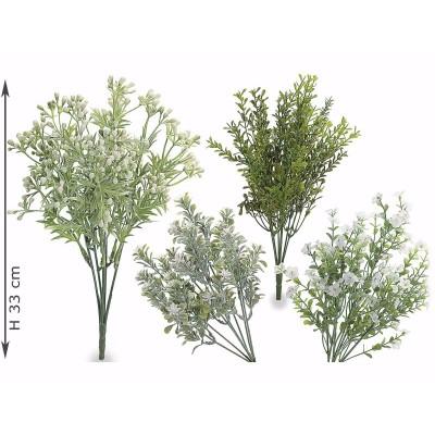 Set 8 mazzolini di fiori artificiali verdi e fiorellini bianchi