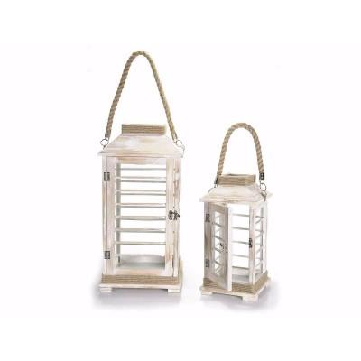 Set 2 lanterne in legno sbiancato con manico in corda
