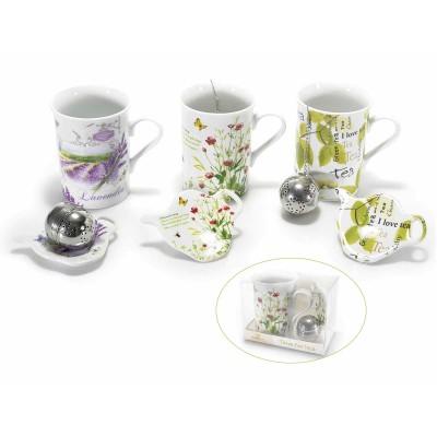 Set tazza, piattino in porcellana con filtro in metallo