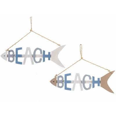 Set 4 Decorazione in legno da appendere a pesce con scritta Beach
